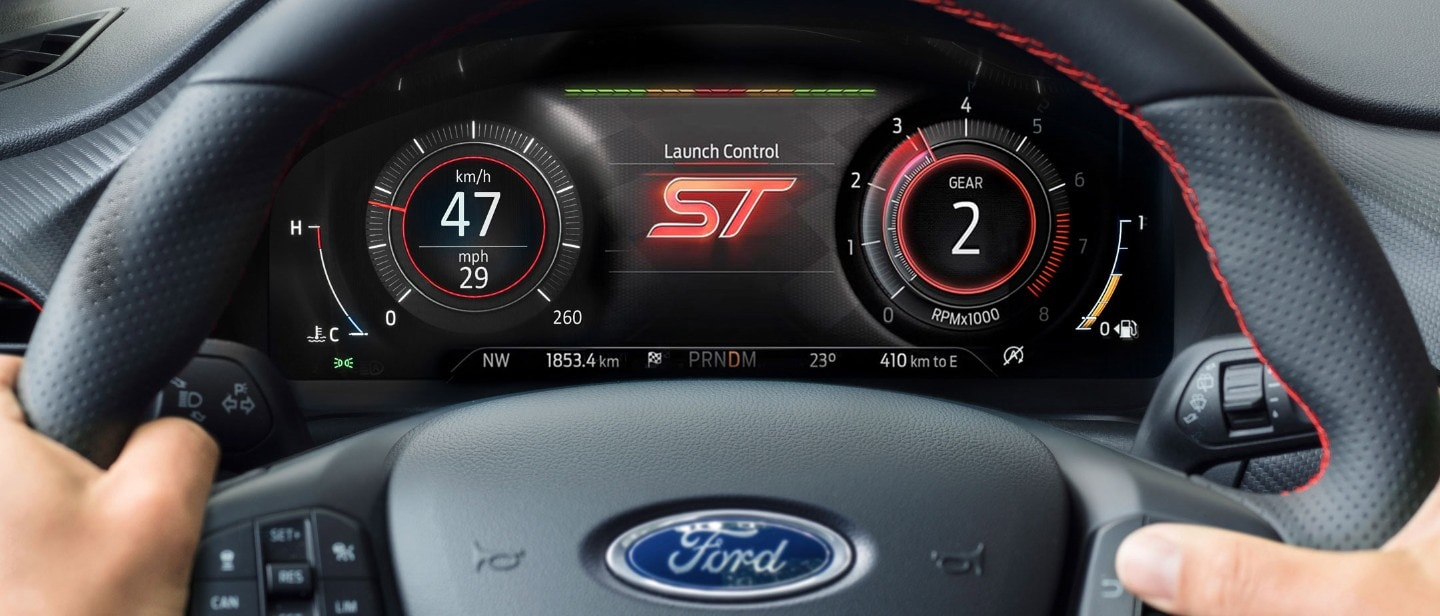 Ford Puma ST dashboard showing launch control